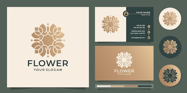 Modèle de logo de fleur abstraite conception de luxe en or rose et carte de visite vecteur premium
