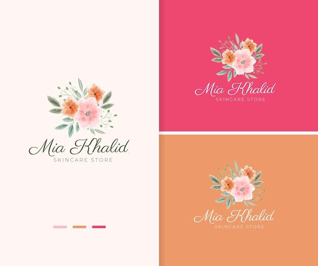 Modèle de logo de fleur d'anémone aquarelle peint à la main