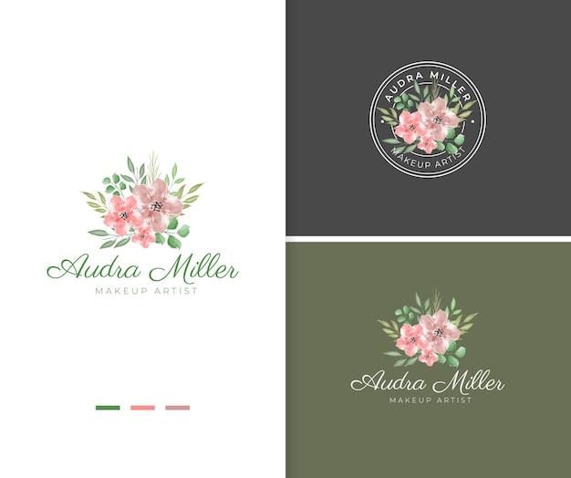 Modèle de logo de fleur aquarelle rose peint à la main