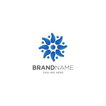 Modèle de logo de fleur bleue
