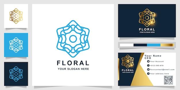Modèle de logo fleur, boutique ou ornement avec conception de carte de visite. peut être utilisé pour la conception de logo spa, salon, beauté ou boutique.