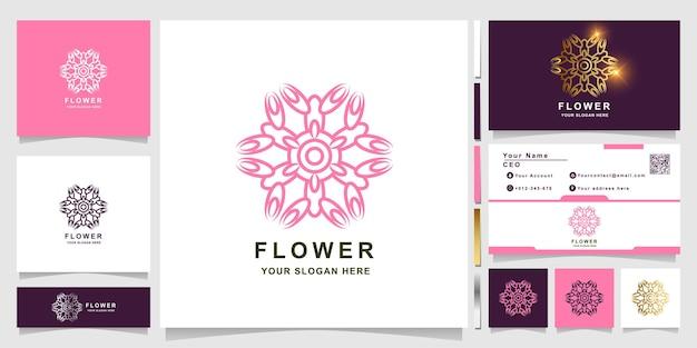 Modèle de logo fleur, boutique ou ornement avec conception de carte de visite. peut être utilisé pour la conception de logo de spa, de salon, de beauté ou de boutique.
