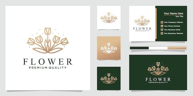 Modèle de logo de fleur créative et cartes de visite