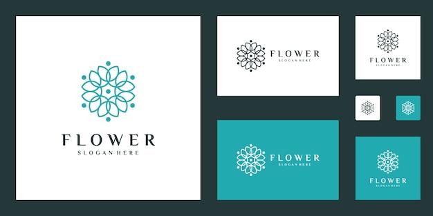 Modèle de logo fleur élégant minimaliste avec style d'art en ligne
