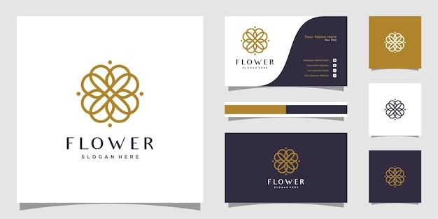 Modèle de logo de fleur élégante minimaliste et conception de carte de visite.