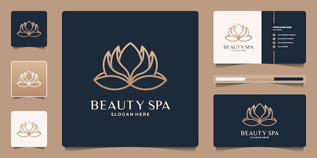 Modèle de logo de fleur de lotus élégant minimaliste. icône d'art en ligne pour salon de beauté, spa, yoga, méditation, thérapie, message, méditation.