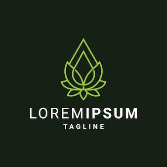 Modèle de logo de fleur de lotus avec des gouttes d'huile ou d'eau
