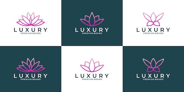 Modèle de logo de fleur de lotus de luxe pour votre salon d'affaires, spa, cosmétique, hôtel, etc.