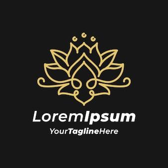 Modèle de logo de fleur de lotus monogramme de luxe