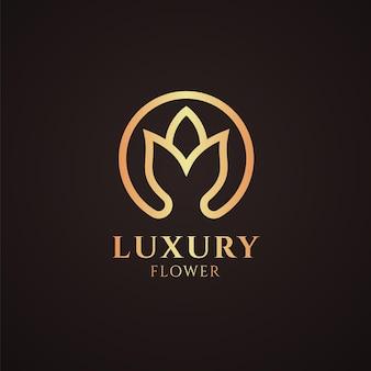 Modèle de logo de fleur luxueuse