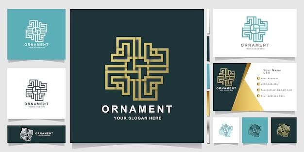 Modèle de logo de fleur d'ornement élégant minimaliste avec conception de carte de visite