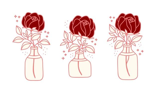 Modèle de logo de fleur rose botanique rose vintage dessiné à la main, bouteille, pot et collection d'éléments de marque de beauté féminine