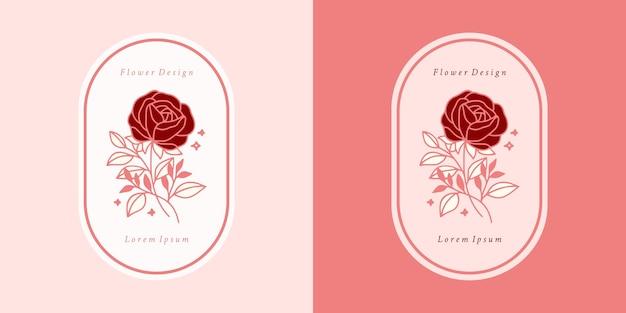 Modèle de logo de fleur rose botanique rose vintage dessiné à la main et ensemble d'éléments de marque de beauté féminine