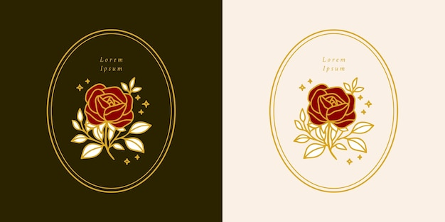 Modèle de logo de fleur rose botanique vintage dessiné à la main et ensemble d'éléments de marque de beauté féminine