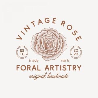 Modèle de logo fleur rose vintage dessiné à la main