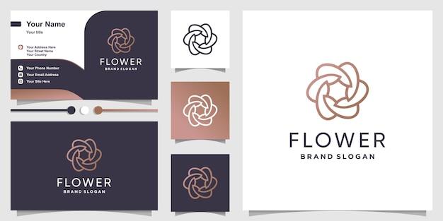 Modèle de logo de fleur avec un style d'art de ligne minimaliste moderne vecteur premium