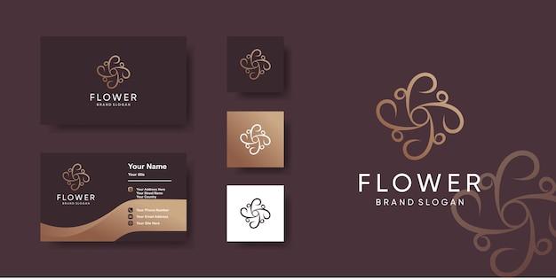 Modèle de logo de fleur avec un style unique et un design de carte de visite vecteur premium