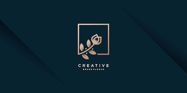 Modèle de logo de fleur avec vecteur premium concept moderne