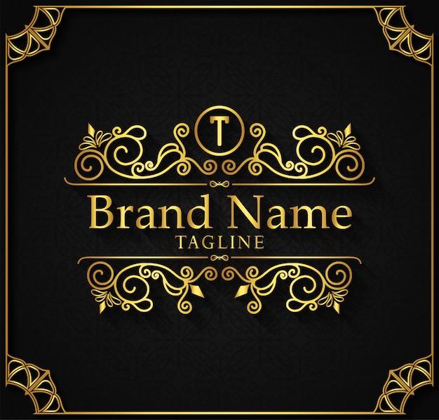 Le modèle de logo fleurit les lignes d'ornement élégantes de calligraphie.