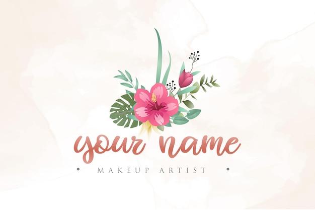 Modèle de logo floral aquarelle