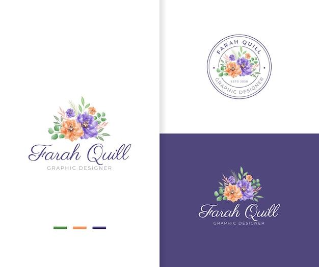 Modèle de logo floral beau bouquet aquarelle