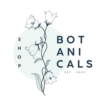 Modèle de logo floral botanique dessiné à la main