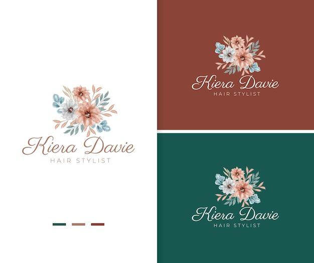 Modèle de logo floral bouquet aquarelle peint à la main