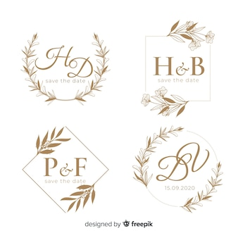 Modèle de logo floral dessiné main mariage