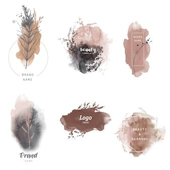Modèle de logo floral. herbe et plantes de saisons de vecteur aquarelle