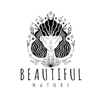 Modèle de logo floral visage fille nature
