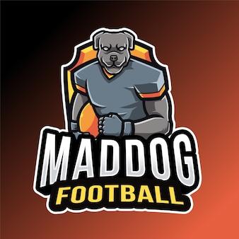Modèle de logo de football de chien