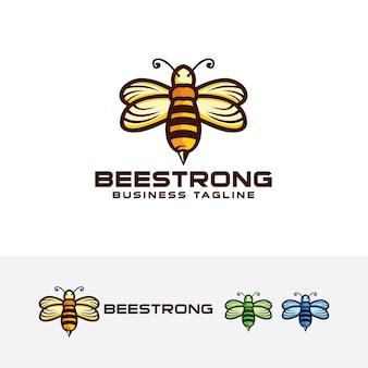 Modèle de logo fort abeille