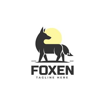 Modèle de logo fox silhouette style