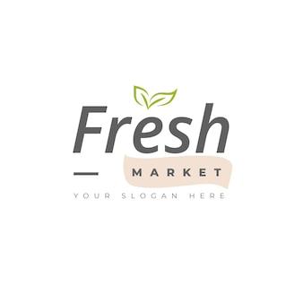 Modèle de logo frais avec des feuilles