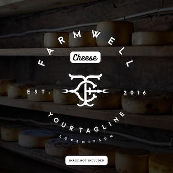 Modèle de logo de fromage fermier