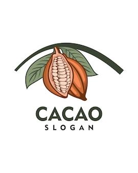 Modèle de logo de fruit de cacao