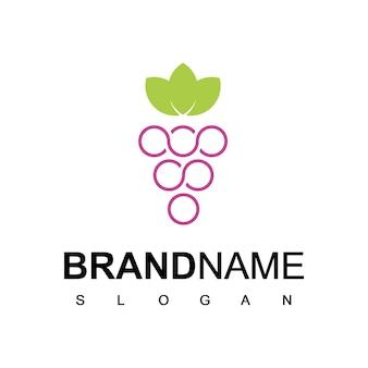 Modèle de logo de fruit de raisin