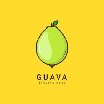 Modèle de logo de fruits de goyave