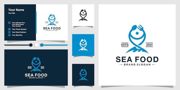 Modèle de logo de fruits de mer avec des cuillères et des fourchettes pour former le poisson et la conception de cartes de visite vecteur premium