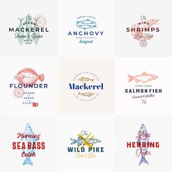 Modèle de logo de fruits de mer premium serti de poissons dessinés à la main