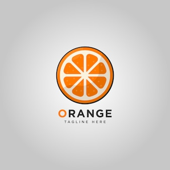 Modèle de logo de fruits orange
