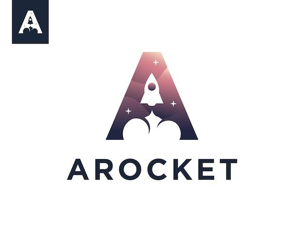 Modèle de logo de fusée lettre a