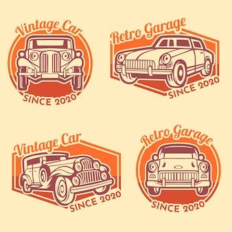Modèle de logo de garage de voiture rétro