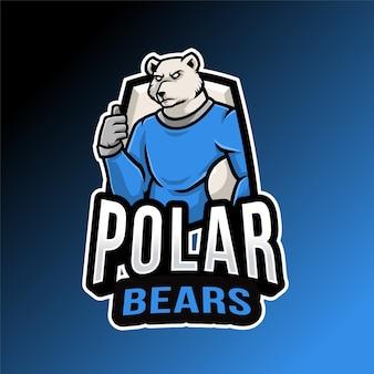 Modèle de logo de gardien de but ours polaire
