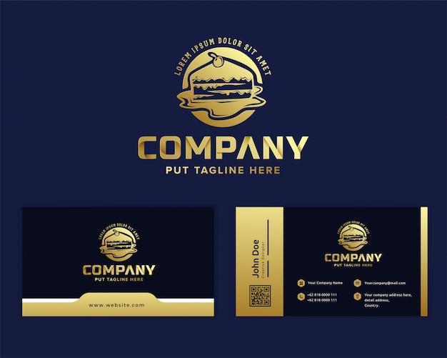 Modèle de logo de gâteau de luxe premium