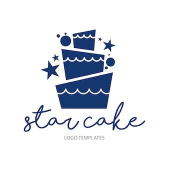 Modèle de logo de gâteau de mariage
