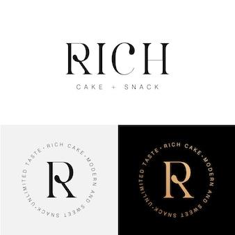 Modèle de logo de gâteau riche, snack et boulangerie