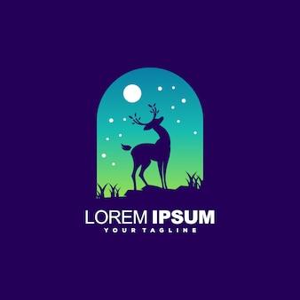 Modèle de logo génial avec le cerf