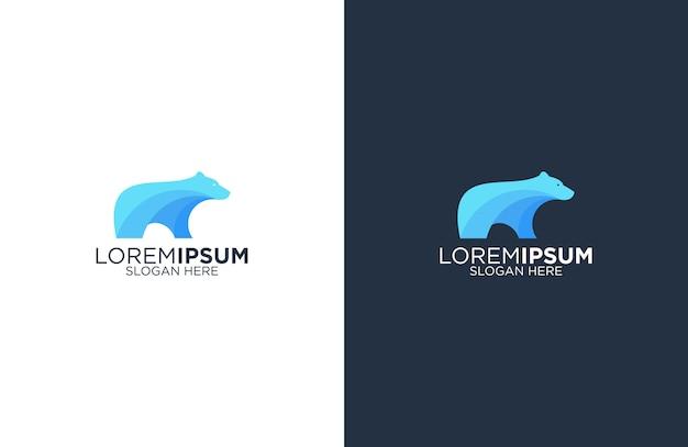 Modèle de logo génial ours bleu