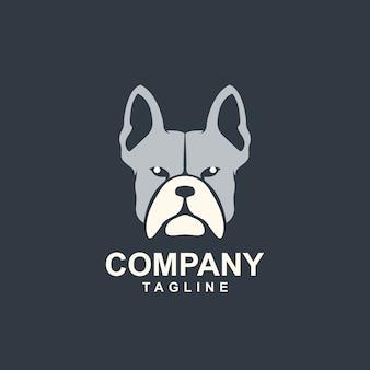 Modèle de logo génial tête de chien bull